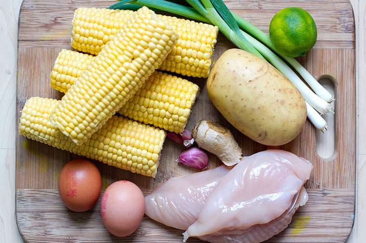 Ingredients for chicken and corn soup