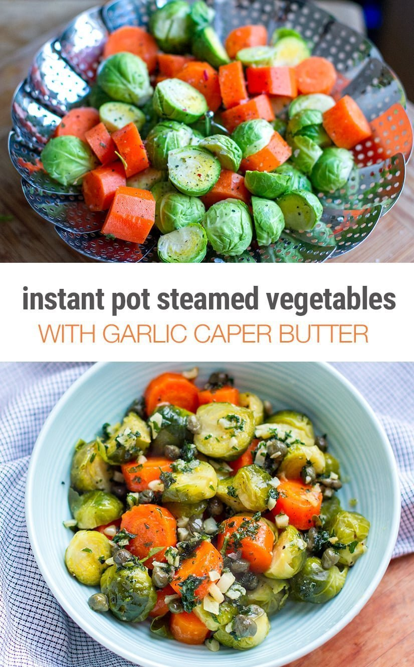 Instant Pot Steamed Veggies with Parsley, Garlic & Caper Butter