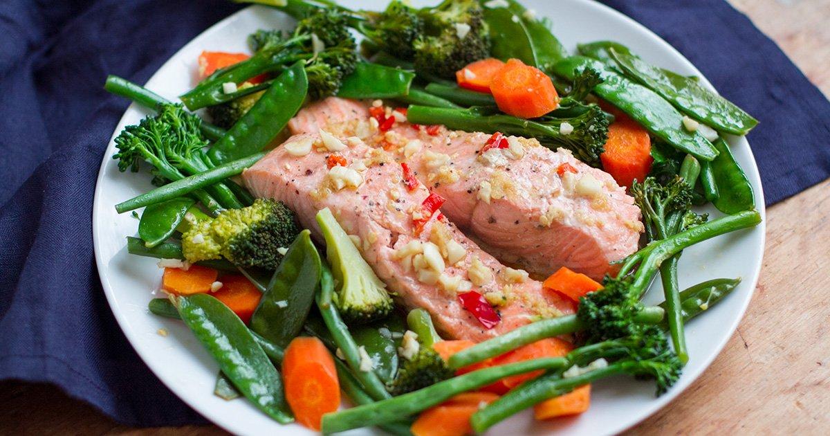 15-Minute Asian Salmon & Garlic Vegetables (Instant Pot Meals)