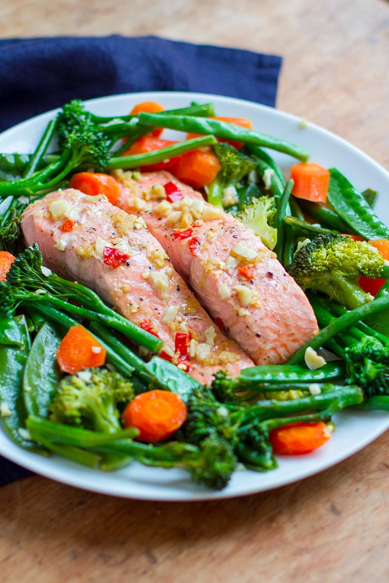 Instant Pot Steamed Salmon & Vegetables