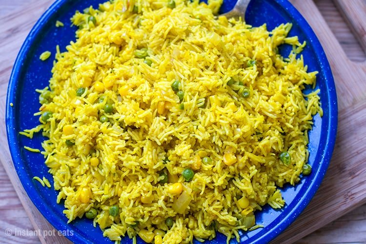 Instant Pot Rice Recipes - Yellow Rice with Garden Peas and Sweet Corn