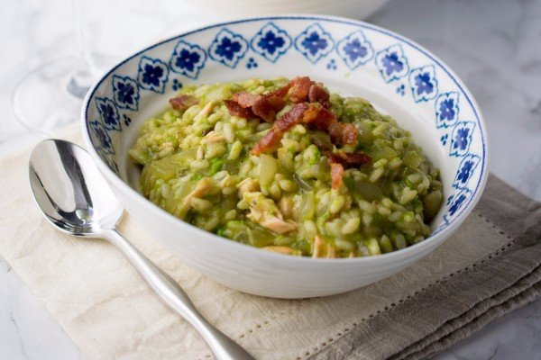 Salmon, Pea, and Bacon Rice Dish