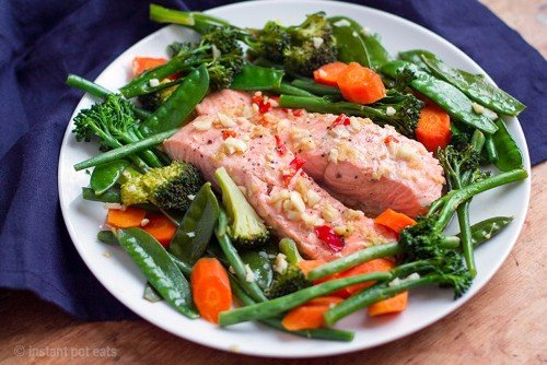 Instant Pot Asian Salmon and Garlic Vegetables