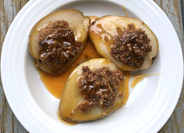 Instant Pot Stuffed Pears With Salted Caramel Sauce