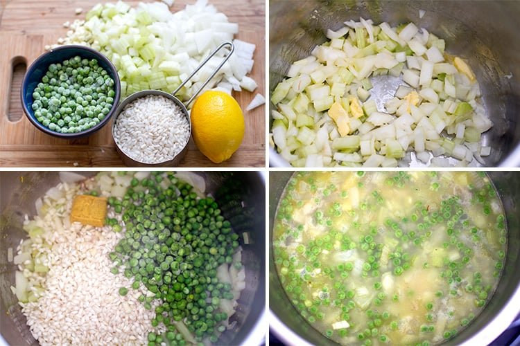 How to make Instant Pot risotto with celery and peas