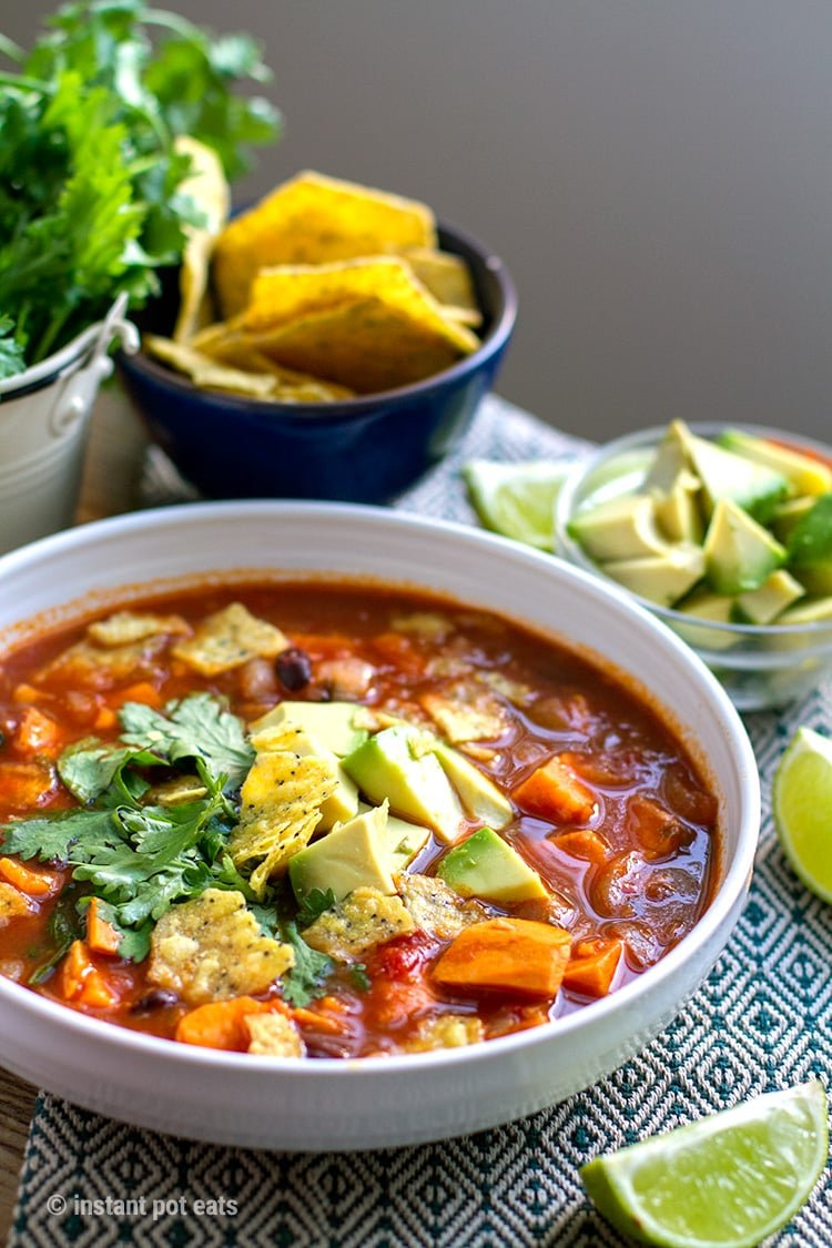 Instant Pot Sweet Potato Tortilla Soup (vegetarian, vegan, gluten-free friendly recipe)