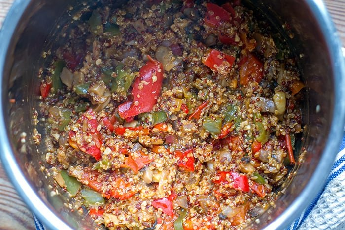Instant Pot Quinoa With Miso Mushrooms & Peppers