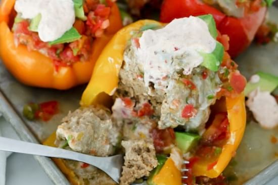 Instant Pot Stuffed Bell Peppers With Chipotle Lime Sauce
