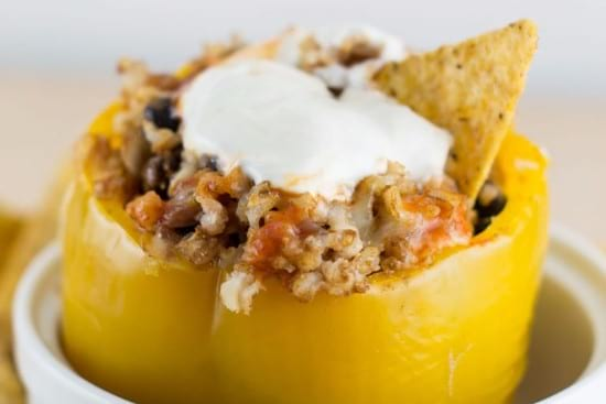 Vegetarian Crock Pot Stuffed Peppers