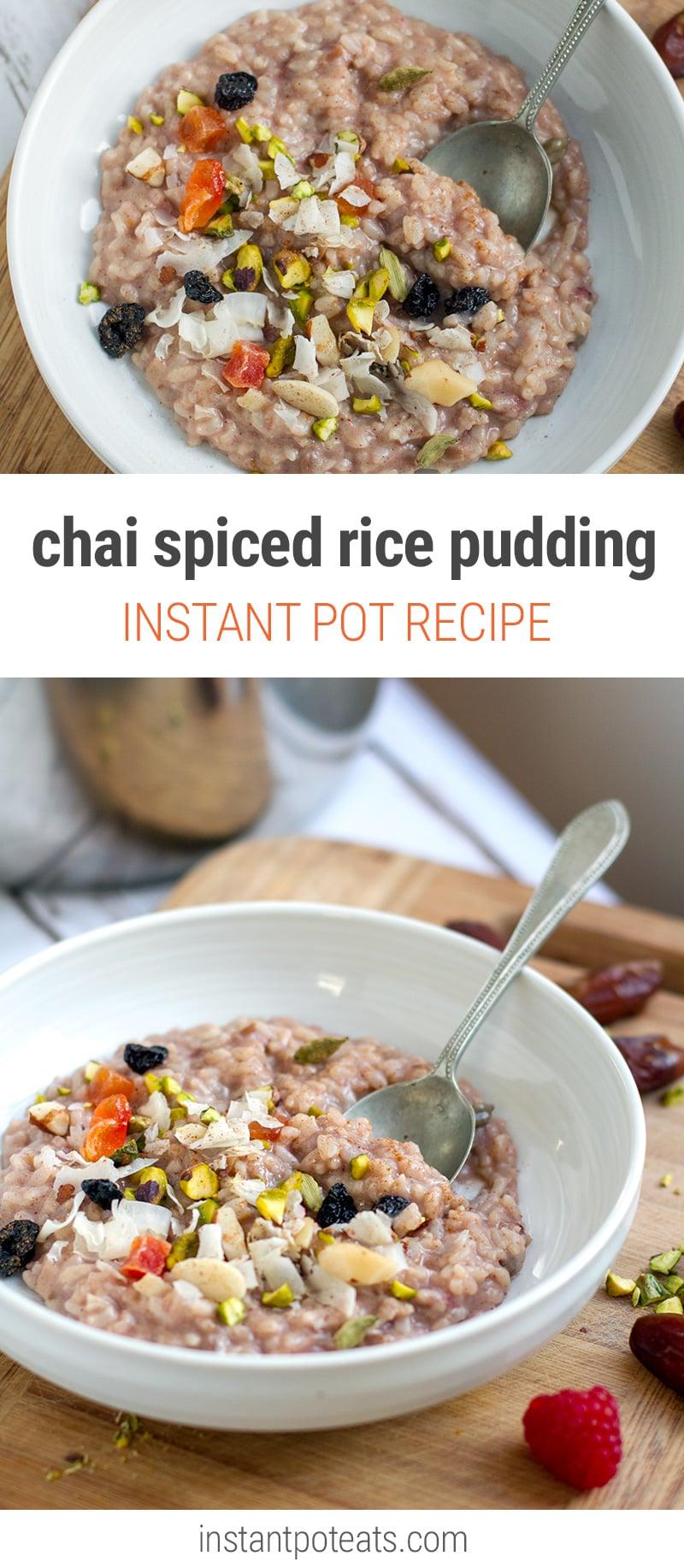 Instant Pot Rice Pudding Porridge Chai Spiced (Vegan, Gluten-free_