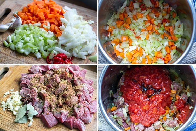 Cooking beef stew sauce in the Instant Pot - ingredients and steps