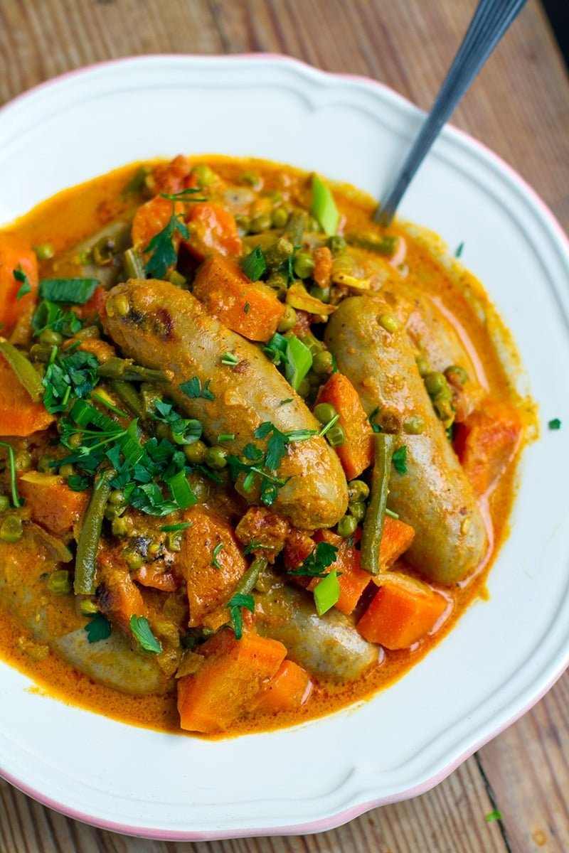 pressure-cooker-curried-sausages