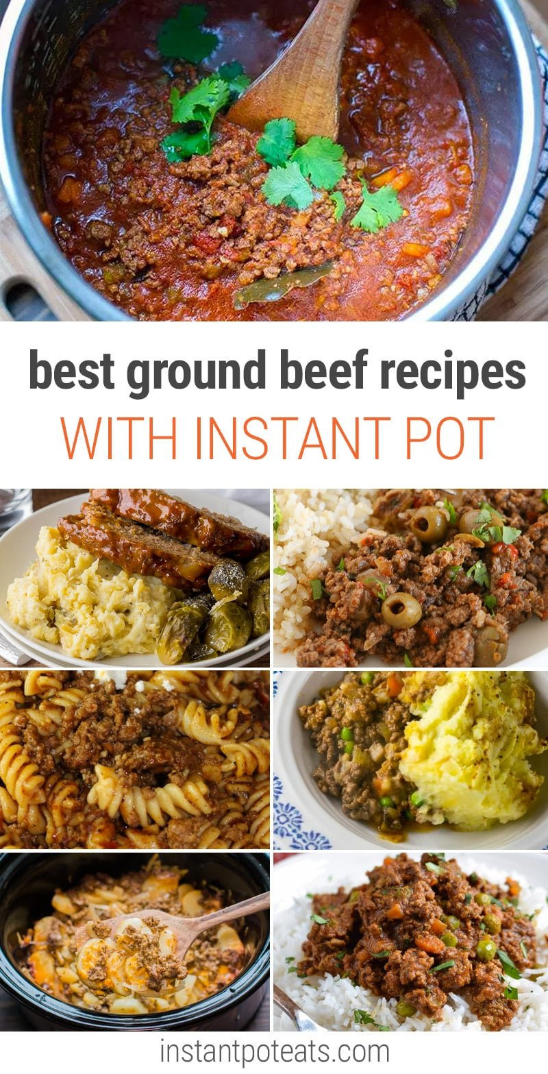 The BEST Instant Pot ground beef recipes you will love: cottage pie, meatballs, chili, ground beef meatloaf, and more.