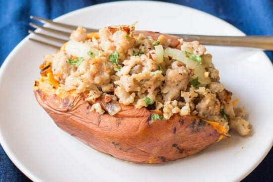 Italian turkey stuffed sweet potatoes - instant pot recipe