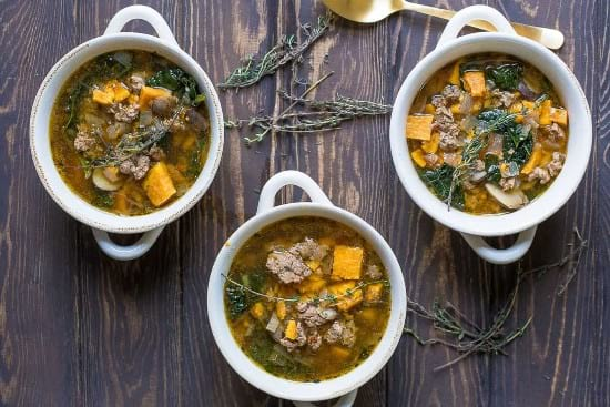 Turkey Sausage Kale and Sweet Potato Soup