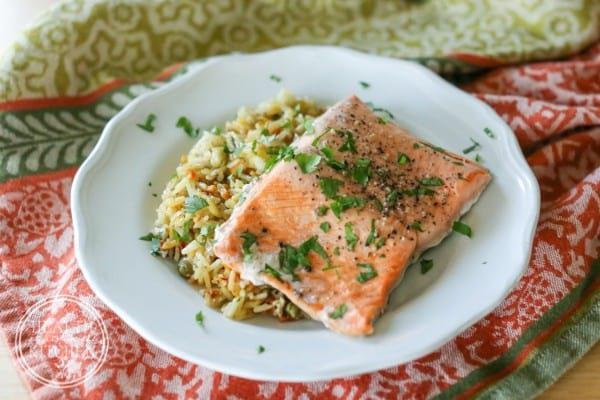 Instant Pot Salmon & Rice Pilaf