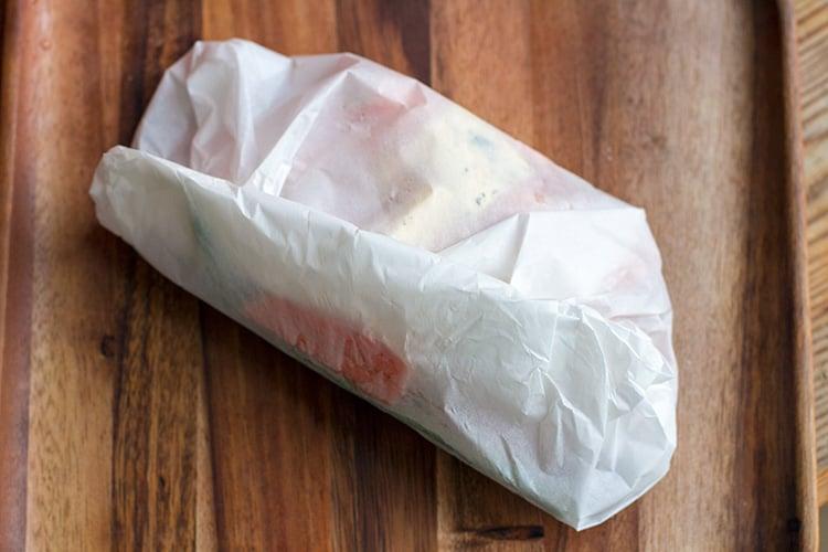Vegetables folded in paper bag