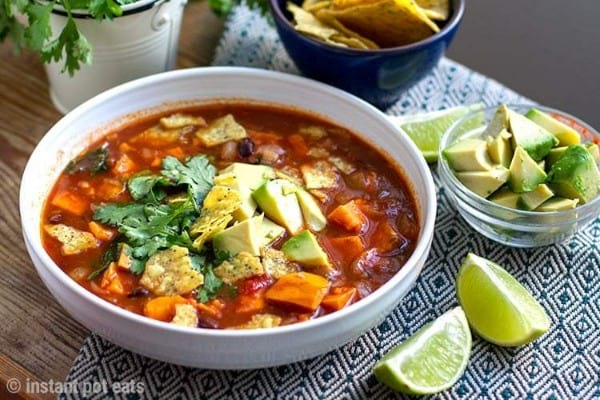 instant pot sweet potato tortilla soup