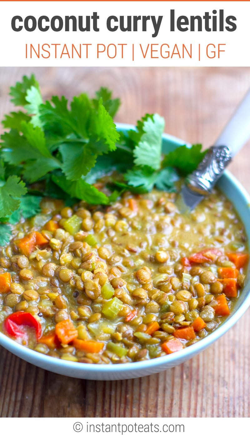 Instant Pot Easy Coconut Curried Lentils (Vegan, Gluten-Free, Dairy-Free)