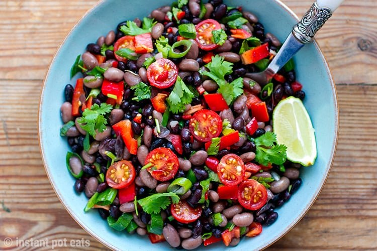 Instant Pot cooked beans in a Mexican Salad