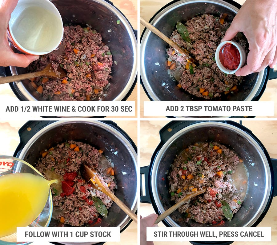 Step 3 for making Bolognese sauce in the Instant Pot