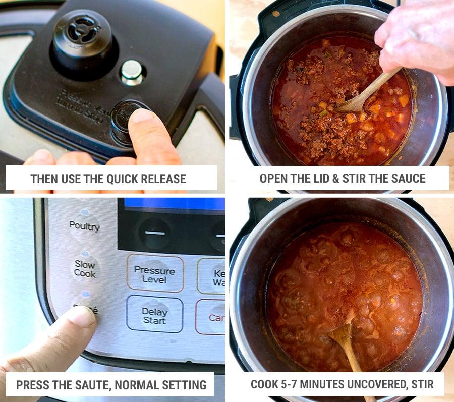 Instant Pot steps for finishing the bolognese sauce