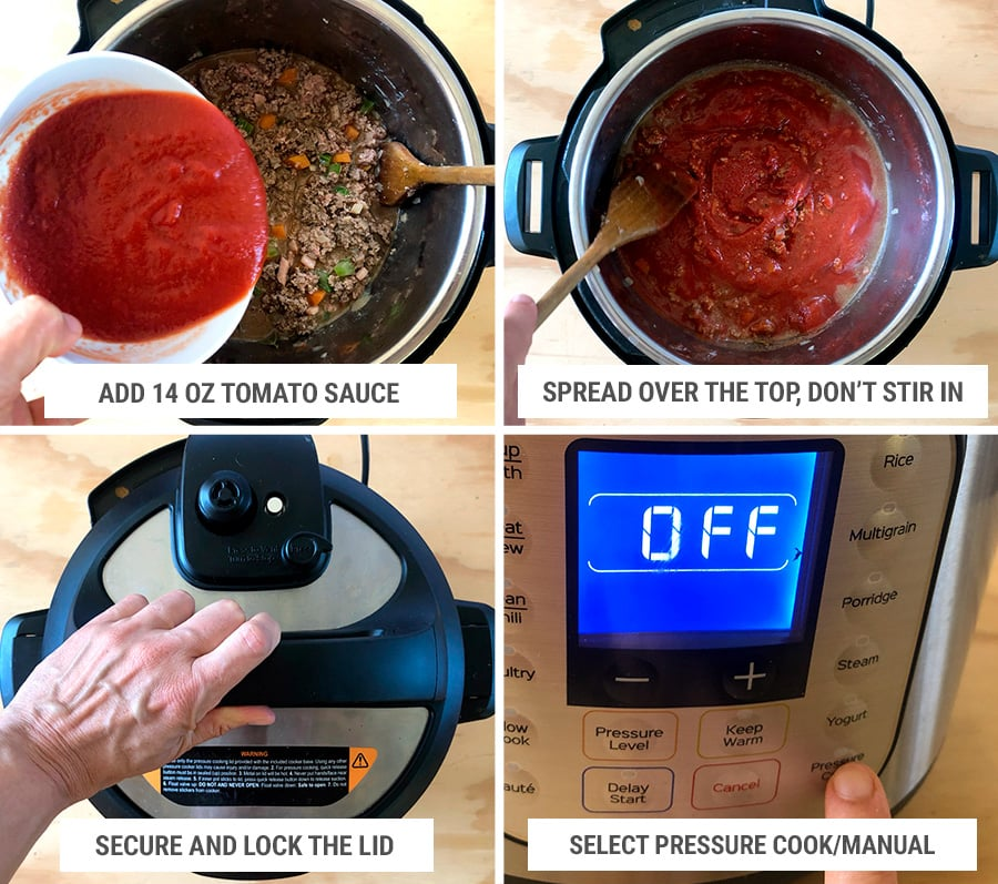 Making Bolognese sauce in the Instant Pot step 4