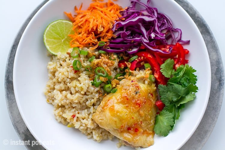 Healthy Instant Pot Brown Rice & Chicken Thai Style