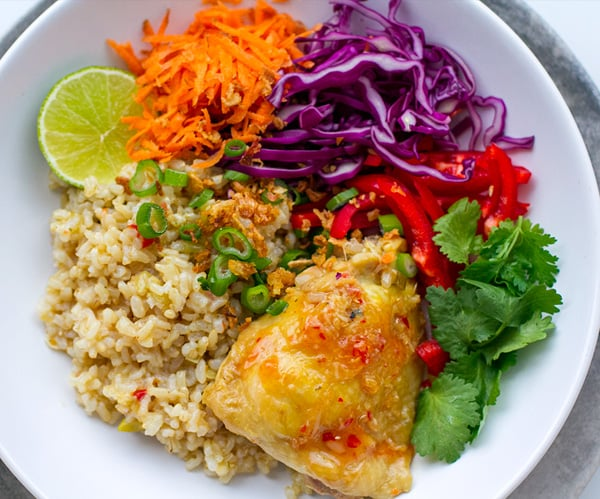 Instant Pot Chicken & Brown Rice Thai-Style