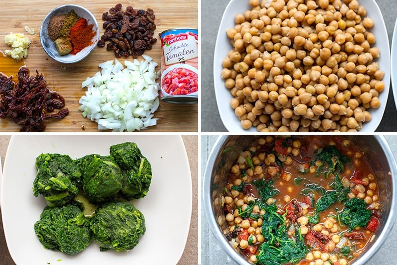 Pressure cooker chickpea stew with spinach and sun-dried tomatoes