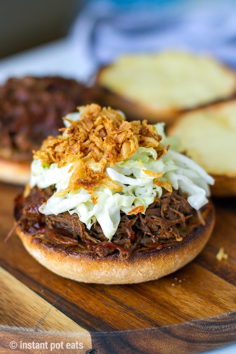 BBQ Shredded Beef Sandwiches With Cheese & Garlic Brioche - using up Instant Pot shredded beef recipe