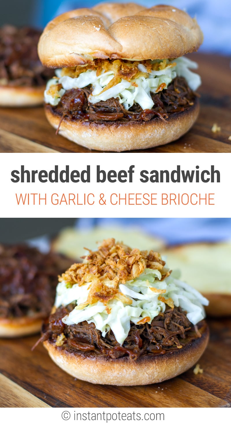 Instant Pot Shredded Beef Sandwiches With Garlic & Cheese Buns