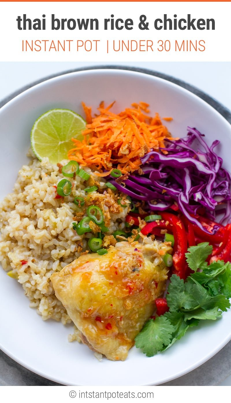 Thai-Style Instant Pot Brown Rice & Chicken Bowls