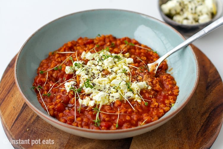 Instant Pot Barley Risotto With Tomatoes & Marinated Feta