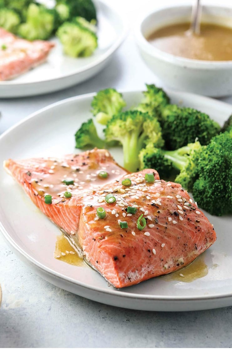 Instant Pot Salmon and Broccoli with Soy-Ginger Dressing