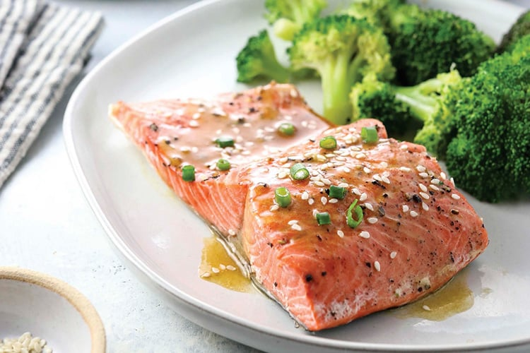 Instant Pot Salmon & Broccoli With Soy-Ginger Dressing - Instant Pot Eats