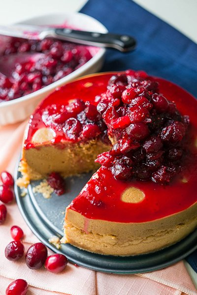 Pressure Cooker Cranberry Molasses Cheesecake