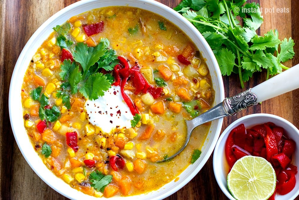 Sweet Potato Soup Instant Pot With Corn & Chhipotle
