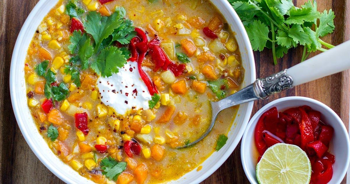 Instant Pot Corn Soup With Sweet Potato, Chipotle & Lime