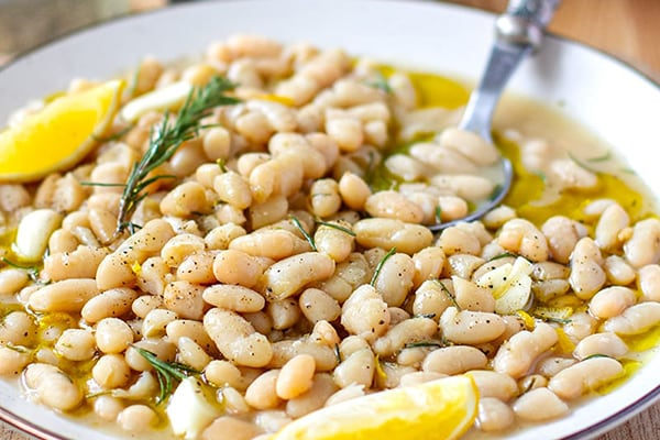 INSTANT POT WHITE BEANS WITH ROSEMARY & GARLIC