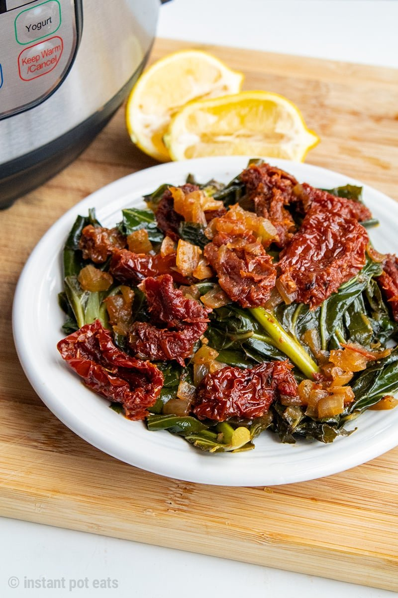 Instant Pot Collard Greens With Sun-Dried Tomatoes | Vegan, Gluten-free, Paleo, Whole30