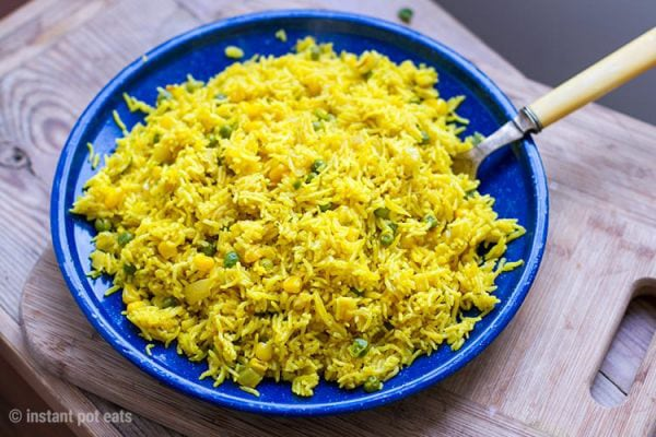 Perfect Instant Pot Yellow Rice With Peas & Corn