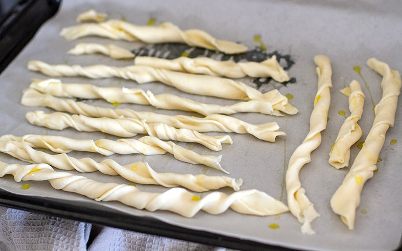 Puff pastry twisties for the chicken pot pie