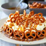 Instant Pot Cake With Chocolate Sponge, Salted Caramel Sauce, Whipped Cream Frosting & Pretzels