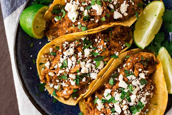 Shredded Chicken Mole Tacos - 20+ Instant Pot Mexican Recipes