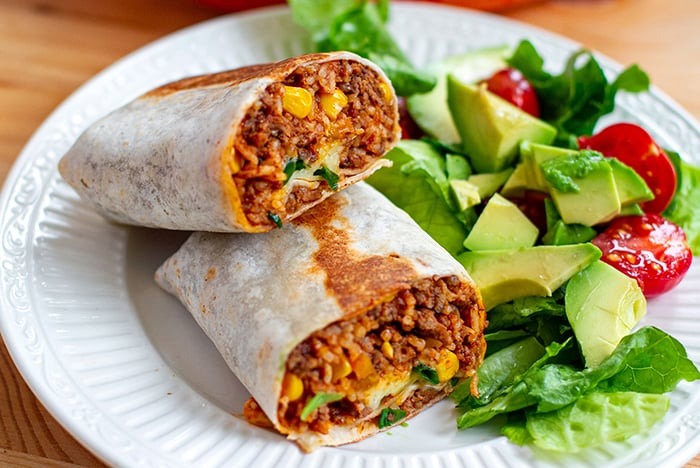 Instant pot beef rice burritos