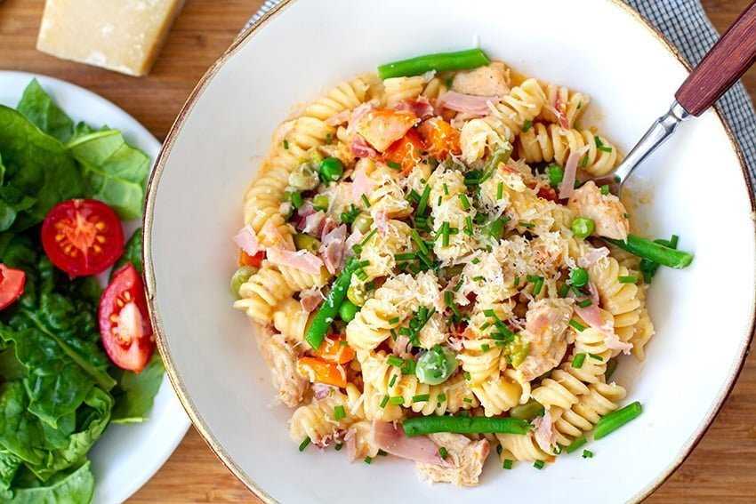 Instant Pot Pasta With Ham, Chicken & Veggies