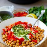 Instant Pot Chickpeas With Salsa Verde, Roasted Peppers & Yoghurt