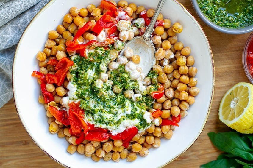 Instant Pot Garbanzo Beans With Salsa Verde, Roasted Peppers & Yoghurt