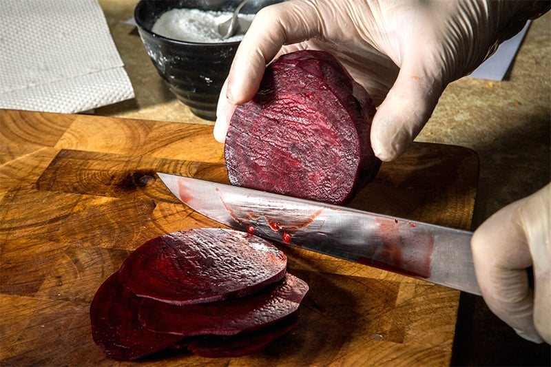 Handling cooked beets in gloves
